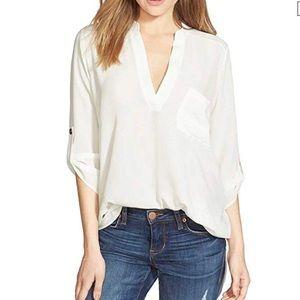 LUSH Nordstrom Roll-Tab Chiffon Shirt V-Neck sz M